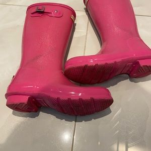 Hunter boots, Barbie pink with glitters. Size:2 US